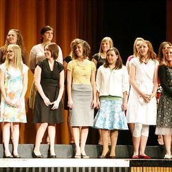 Finalists in the family and consumer sciences category take the stage at Cottonwood High School during the Sterling Scholar awards ceremony on Wednesday night.