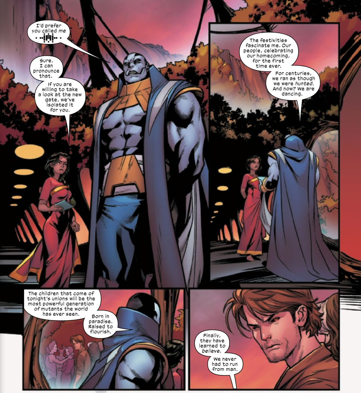 The X-Men villain formerly known as Apocalypse opines on his new name and the strong generation of mutants who will be born on Krakoa, in Excalibur #1, Marvel Comics (2019).