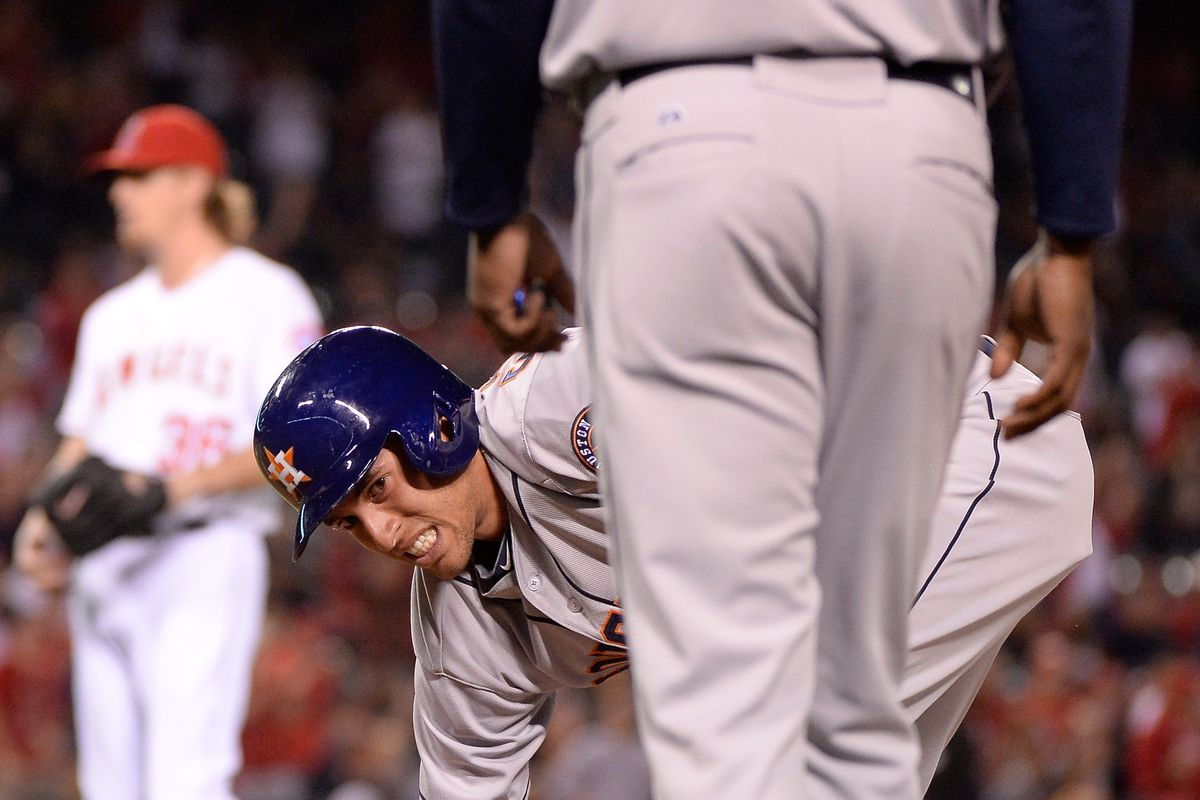 George Spriner reacts after getting picked off by Jered Weaver in the ninth inning of Wednesday's loss.