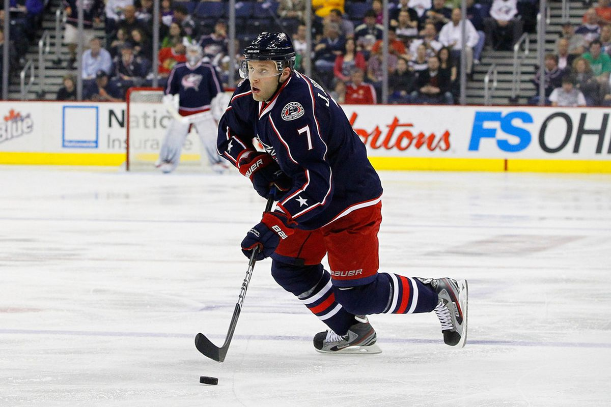 March 20, 2012; Columbus, OH, USA; Columbus Blue Jackets defenseman Jack Johnson (7) carries the puck against the Chicago Blackhawks during the second period  at Nationwide Arena. Mandatory Credit: Russell LaBounty-US PRESSWIRE