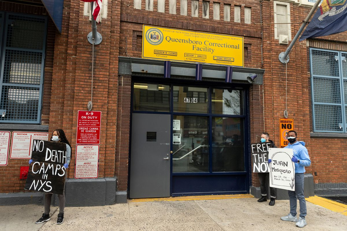 Activists protest incarcerating people in state jails amid COVID-19 pandemic at Queensboro Correctional Facility.
