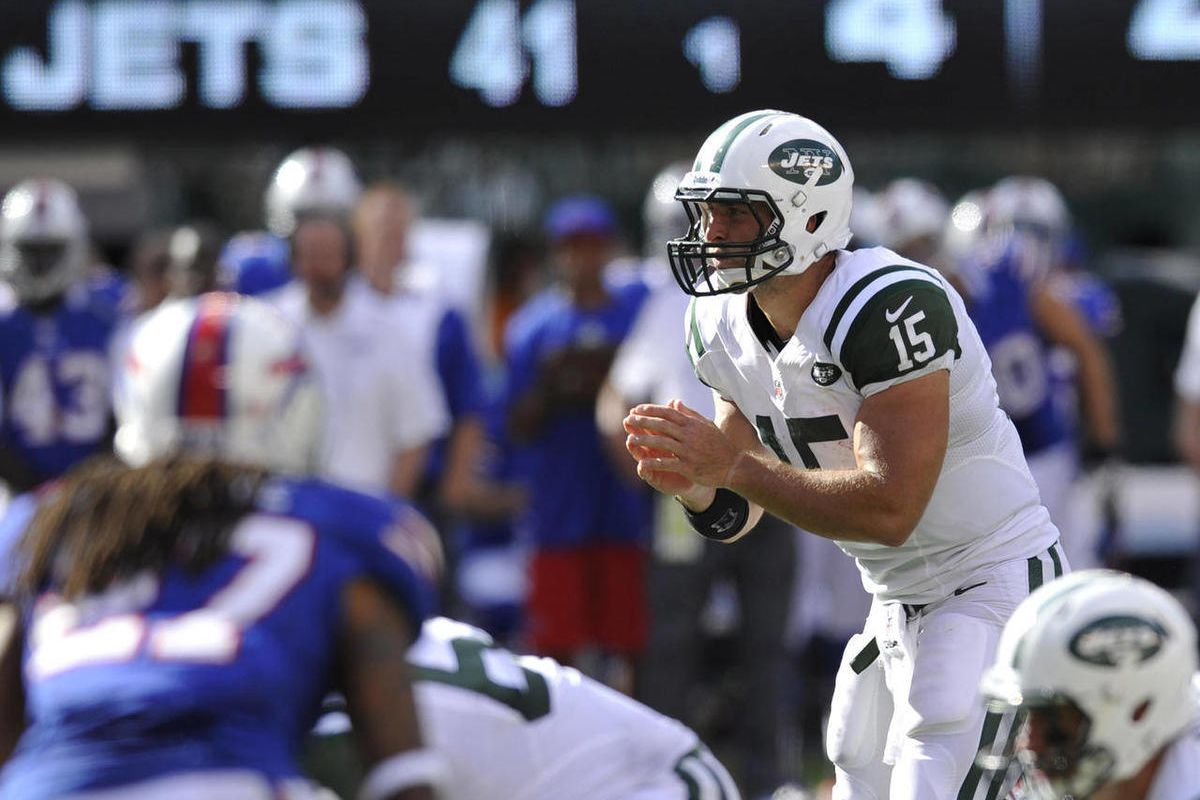 FILE - This Sept. 9, 2012 file photo shows New York Jets quarterback Tim Tebow calling signals during the fourth quarter of an NFL football game against the Buffalo Bills, in East Rutherford, N.J. A sprinkling of Tebow and the wildcat package turned out t
