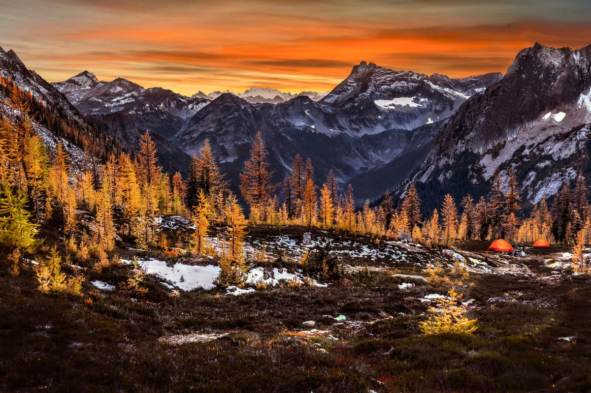 Surrounded by mountains, a collection of trees that look like conifers (but are not) glow bright orange in the sunset. A pair of glowing orange tents are at the far right.