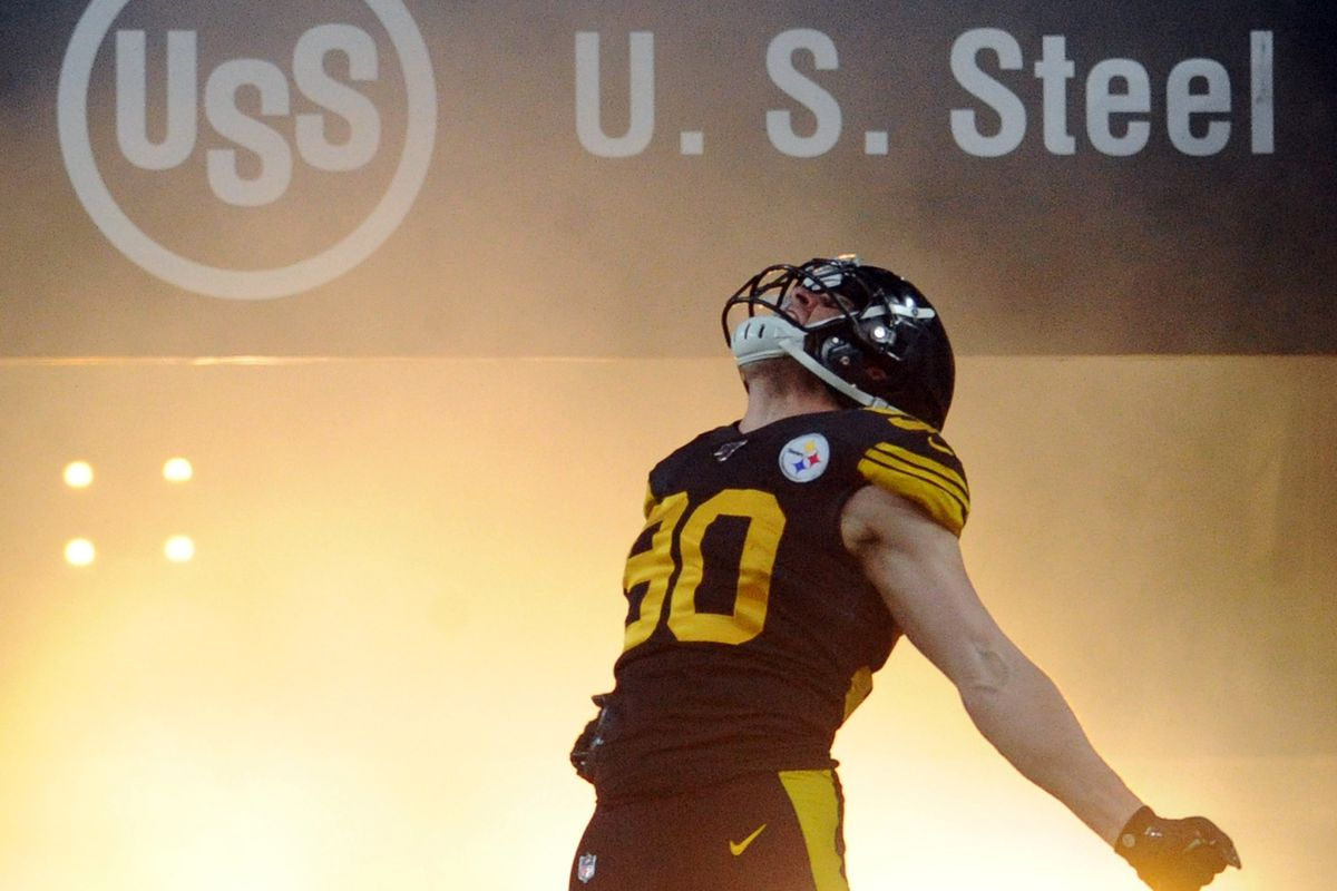 Pittsburgh Steelers linebacker T.J. Watt is introduced before playing the Buffalo Bills at Heinz Field.