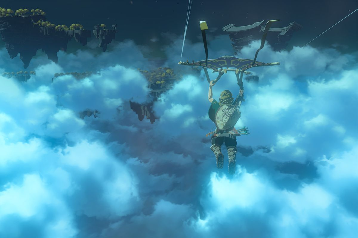 Link sailing through clouds at night using his Paraglider in the sequel to The Legend of Zelda: Breath of the Wild