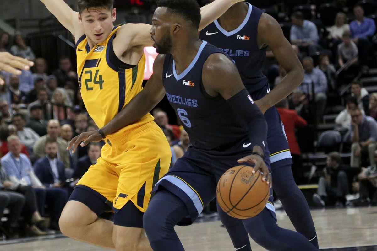 Utah Jazz guard Grayson Allen (24) guards Memphis Grizzlies guard Shelvin Mack (6) during an NBA basketball game at the Vivint Smart Home Arena in Salt Lake City on Monday, Oct. 22, 2018.