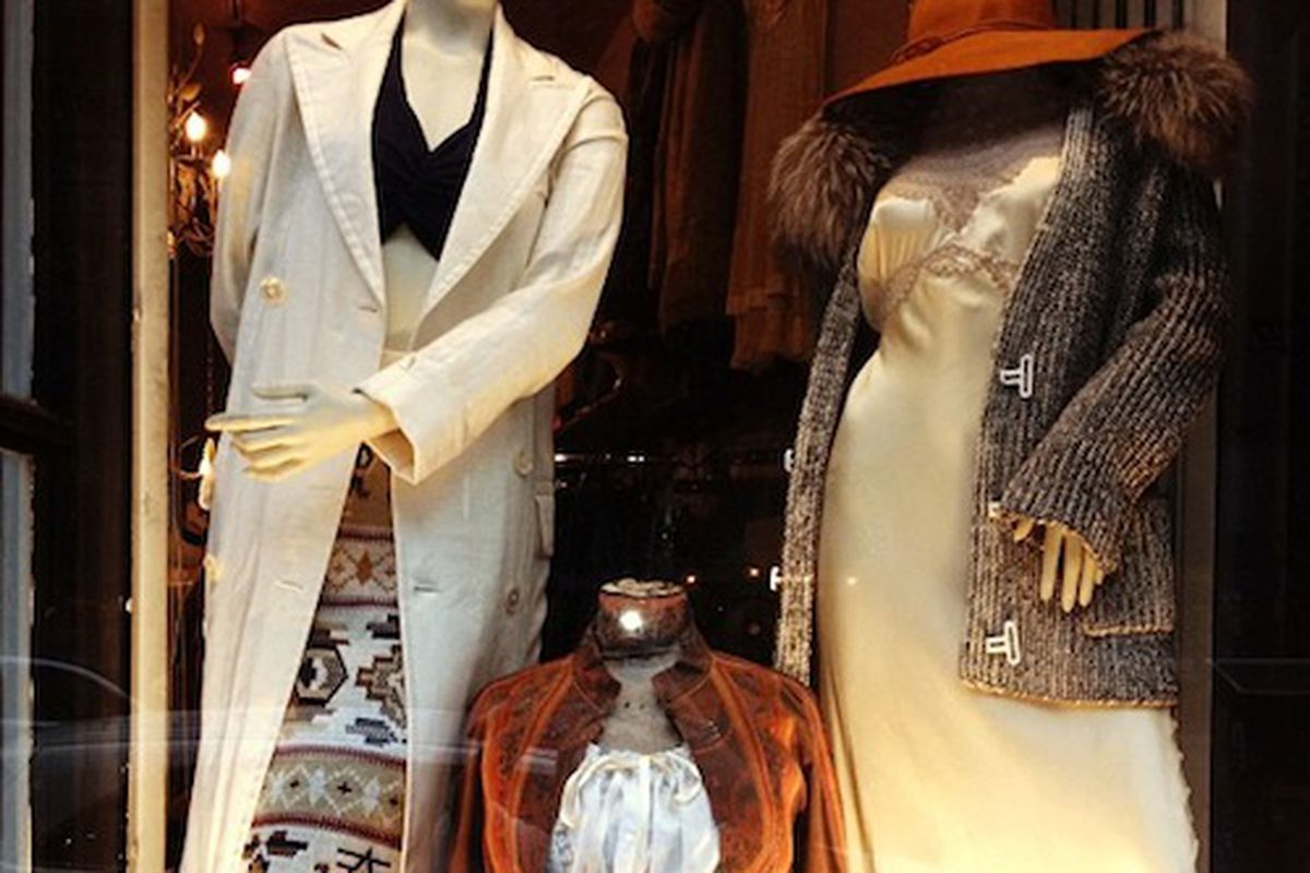"""The fall windows at the Broome Street store. Image via <a href=""""https://www.facebook.com/photo.php?fbid=602965829753596&amp;set=pb.147094945340689.-2207520000.1378748945.&amp;type=3&amp;theater"""">Facebook</a>"""
