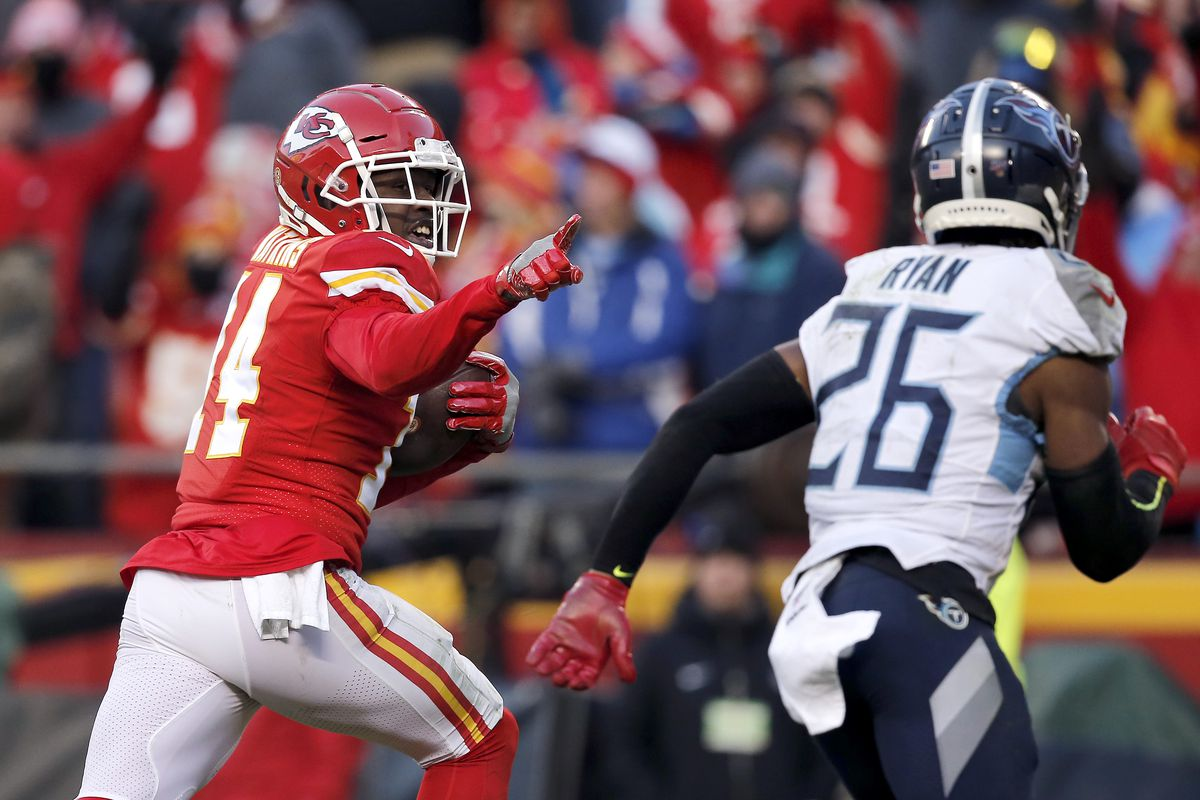 Sammy Watkins #14 of the Kansas City Chiefs catches a 60 yard touchdown pass in the fourth quarter against the Tennessee Titans in the AFC Championship Game at Arrowhead Stadium on January 19, 2020 in Kansas City, Missouri.