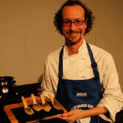 Seth Morrison of The Gallows and his mushroom bolognese with roasted spaghetti squash.  On sustainable spoons!