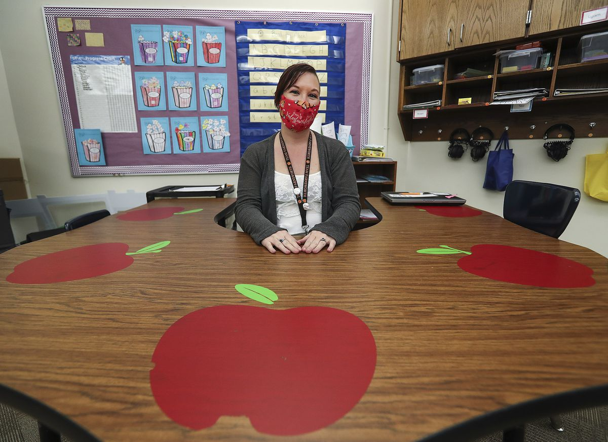 RayShell Shelden, a paraeducator who works with special education students at Philo T. Farnsworth Elementary School in West Valley City, poses for a photo at the school on Tuesday, Feb. 23, 2021.