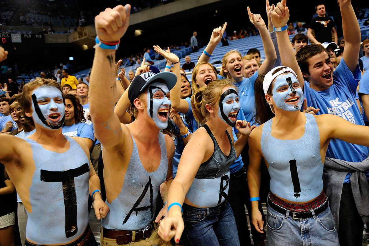 North Carolina Tar Heels fans in the student section cheer during a game against the Texas Longhorns during play at Dean Smith Center on December 21, 2011 in Chapel Hill, North Carolina.