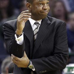 Boston Celtics head coach Doc Rivers reacts during the first half of an NBA basketball game against the Charlotte Bobcats in Charlotte, N.C., Sunday, April 15, 2012.