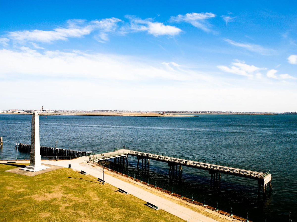 Great Atlantic views from Sullivan's, especially when Fort Independence is open