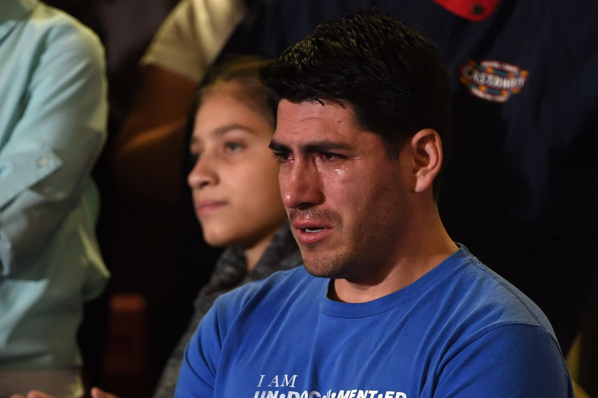 Jose Patino of Arizona cries as he watches President Obama in 2014.