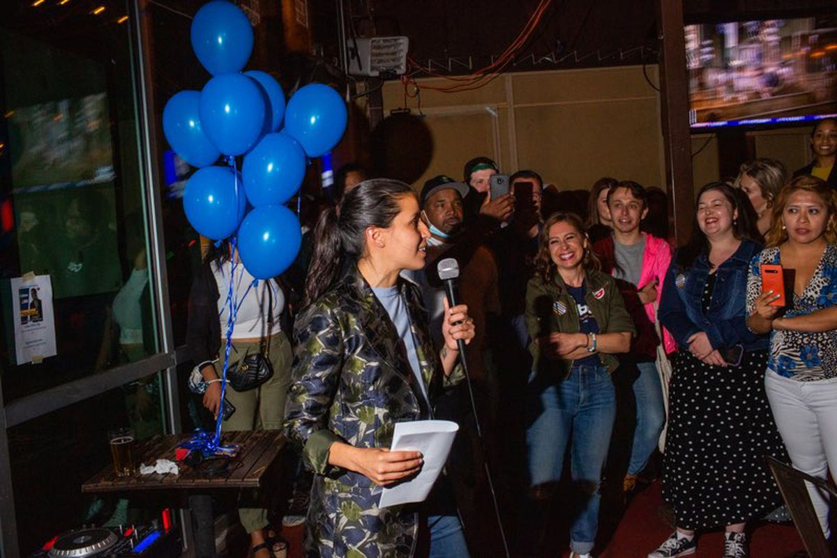 Tiffany Cabán celebrates her first-round finish in her Astoria City Council race Tuesday evening, June 22, 2021.