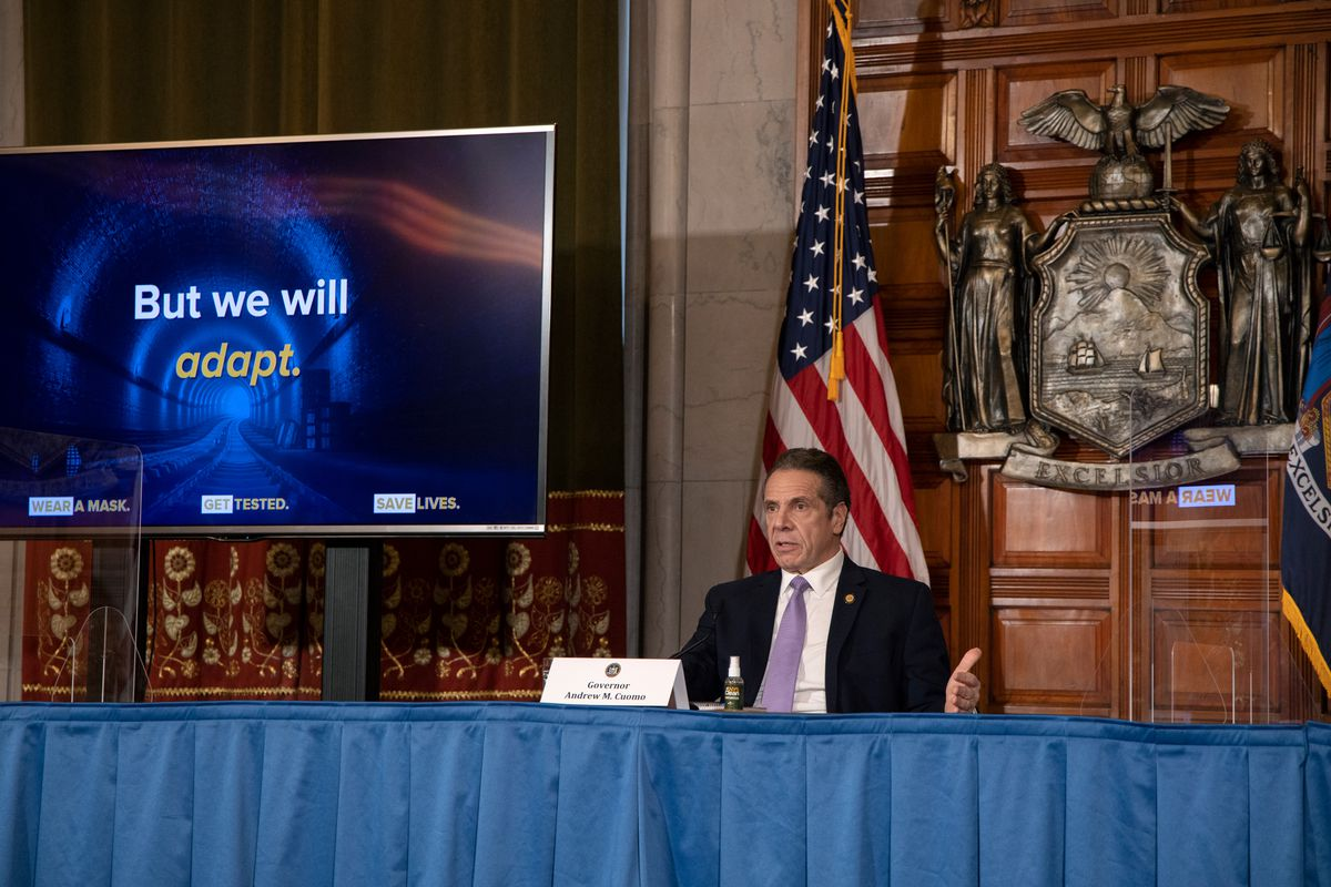 Governor Andrew Cuomo gives an update in Albany on the coronavirus outbreak, Jan. 27, 2021.