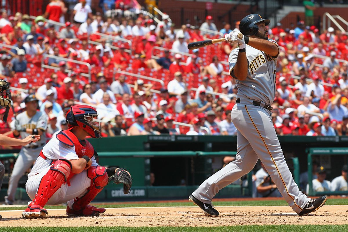ST. LOUIS, MO - JUNE 30: Pedro Alvarez #24 of the Pittsburgh Pirates hits a grand slam against the St. Louis Cardinals at Busch Stadium on June 30, 2012 in St. Louis, Missouri.  (Photo by Dilip Vishwanat/Getty Images)