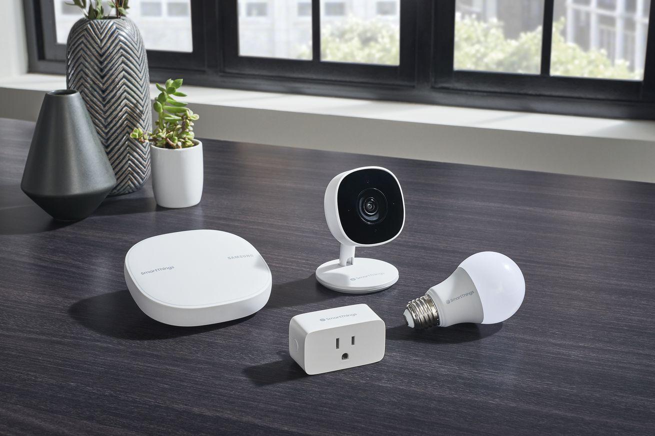 <em>Samsung's new SmartThings Cam, Wifi Smart Plug, and Smart Bulb.</em>