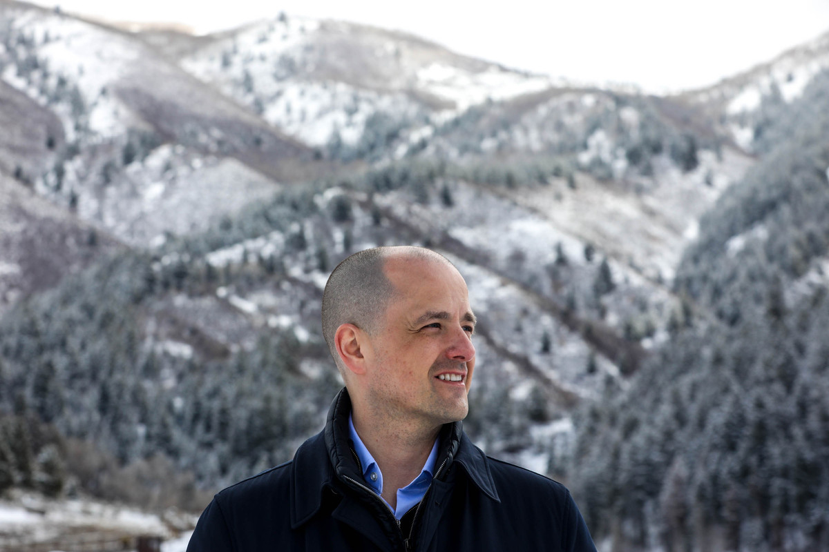 Evan McMullin, a former CIA operations officer and 2016 presidential candidate, poses for a photo in Highland on Friday, March 26, 2021.