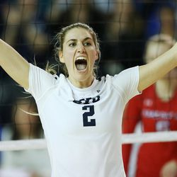 BYU's Cosy Burnett celebrates the second-set win over American during the NCAA tournament in Provo on Friday, Dec. 1, 2017.