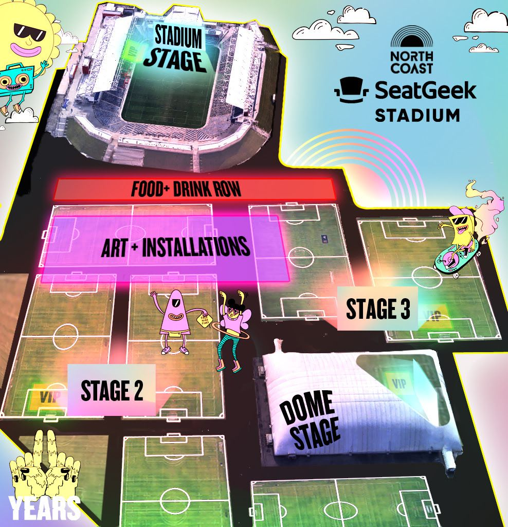 The map of the North Coast Music Festival site at SeatGeek stadium.