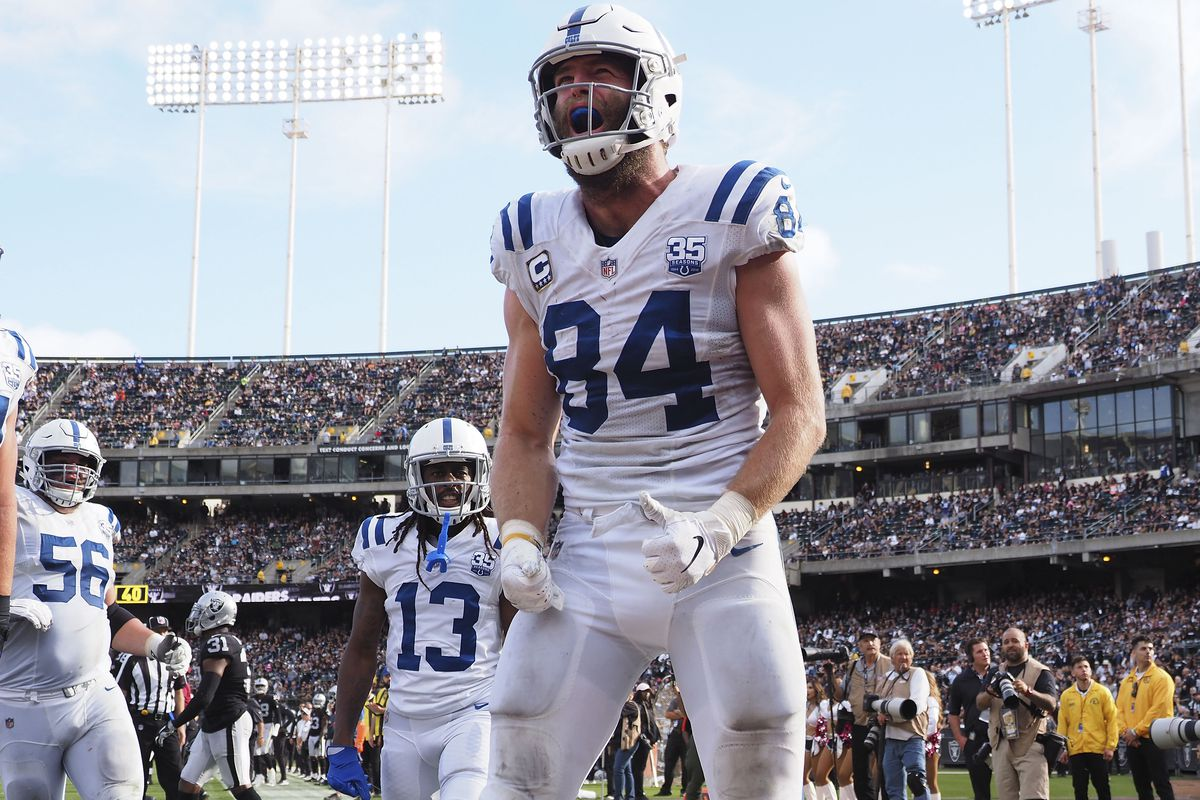 Indianapolis Colts tight end Jack Doyle celebrates after scoring a touchdown against the Oakland Raiders during the fourth quarter at Oakland Coliseum.