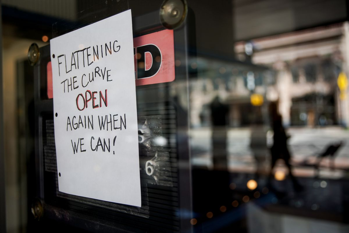 A sign in the window of The Store & Gift Shop in Ogden indicates that they are closed to prevent the spread of COVID-19 on Thursday, April 2, 2020.