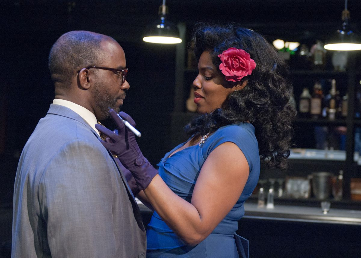 """Ronald L. Conner plays Corn and Tyla Abercrumbie is Silver in the TimeLine Theatre production of Dominique Morisseau's play """"Paradise Blue."""" (Photo: Lara Goetsch)"""