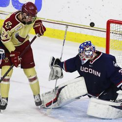 The UConn Huskies take on the Boston College Eagles in a men's college hockey game at Conte Forum in Chestnut Hill, MA on December 7, 2018
