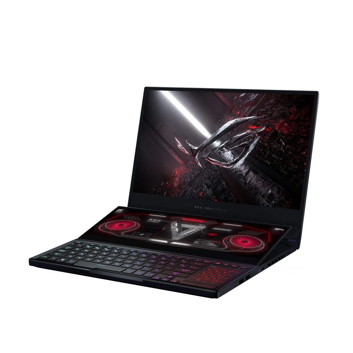 The Asus Zephyrus Duo 15 SE angled to the left. The primary screen displays the ROG logo. The ScreenPad Plus displays Asus's home screen. The RGB keyboard is illuminated. The touchpad displays an LED numpad.