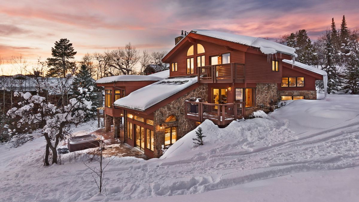 a snowy ski chalet