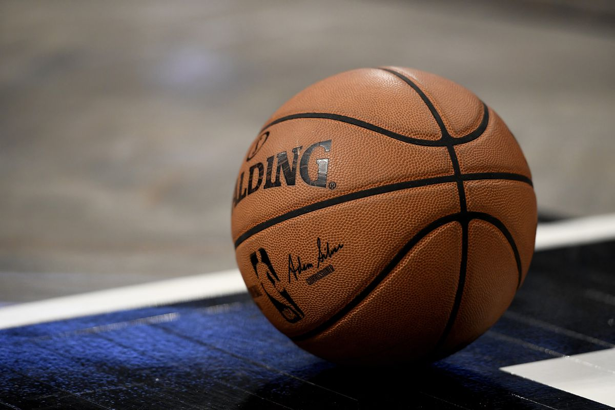 Detail of a Spalding basketball with NBA commissioner Adam Silver's signature during the second half of the game between the Miami Heat and the Brooklyn Nets at Barclays Center on January 10, 2020 in the Brooklyn borough of New York City.