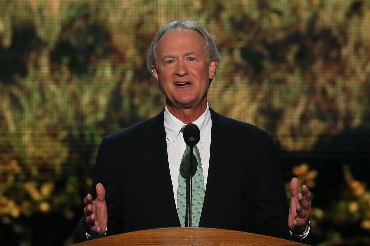 Lincoln Chafee speaks at the Democratic National Convention in 2012, a few months before he became a Democrat.