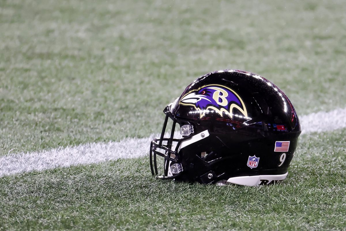 Ravens helmet in warm up before a game between the New England Patriots and the Baltimore Ravens on November 15, 2020, at Gillette Stadium in Foxborough, Massachusetts.