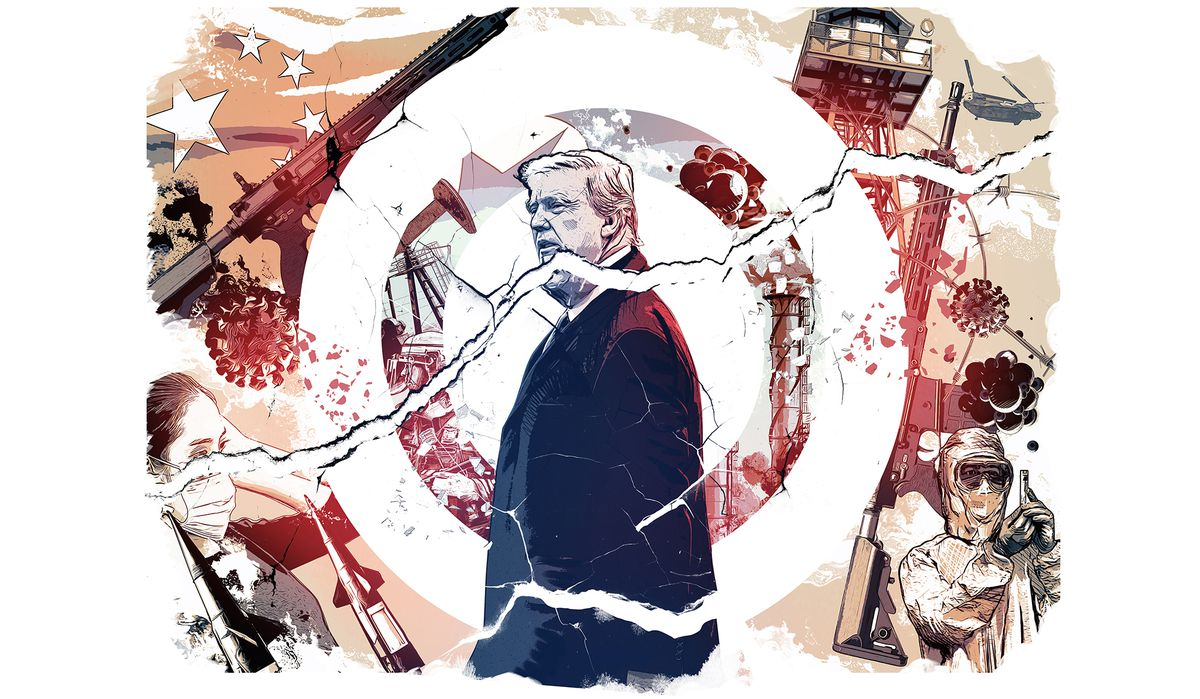 An illustration in tones of blue, black and red shows President Trump in the center of a white bullseye, a large crack severing his head from his body. Surrounding him are images of war and medical research.