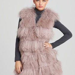 """Christian Cota for Maximilian 32"""" Fox, Tibetan Lamb & Rabbit Fur Vest ORIG $1,795.00 SALE $1,256.50"""