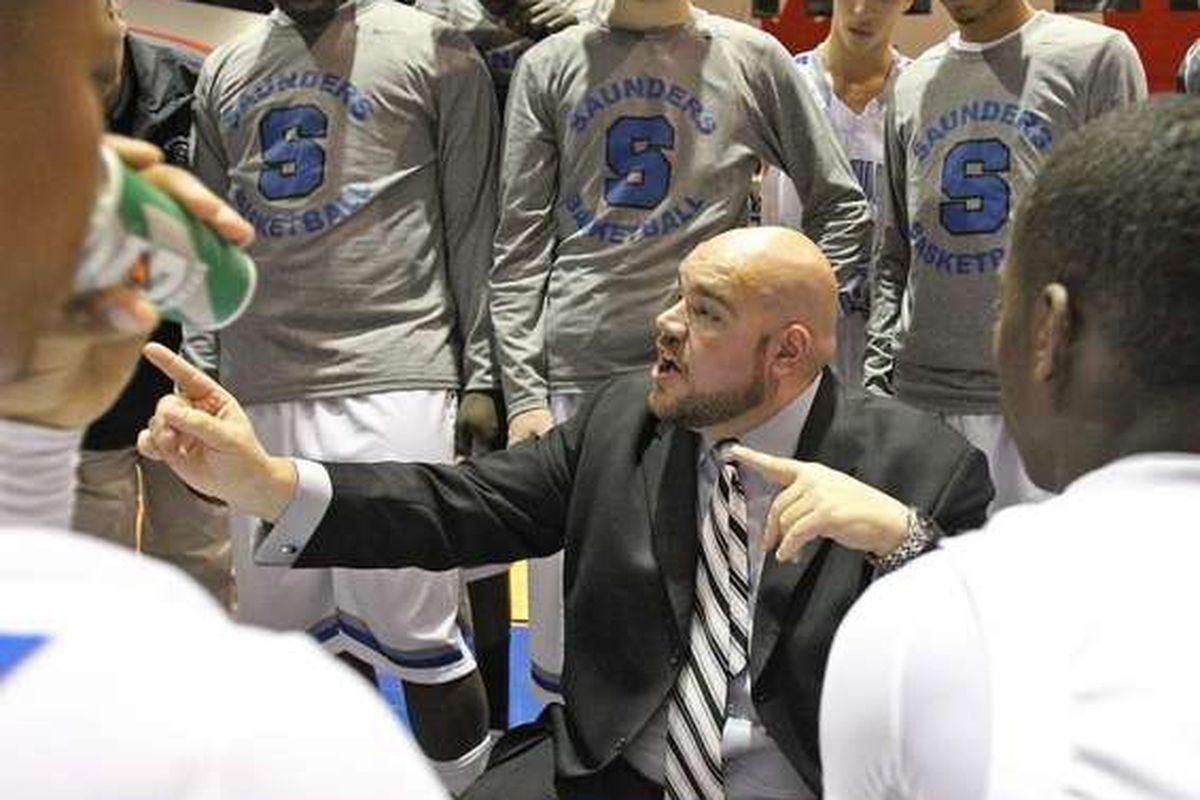 Anthony Nicodemo coaches his Saunders basketball team