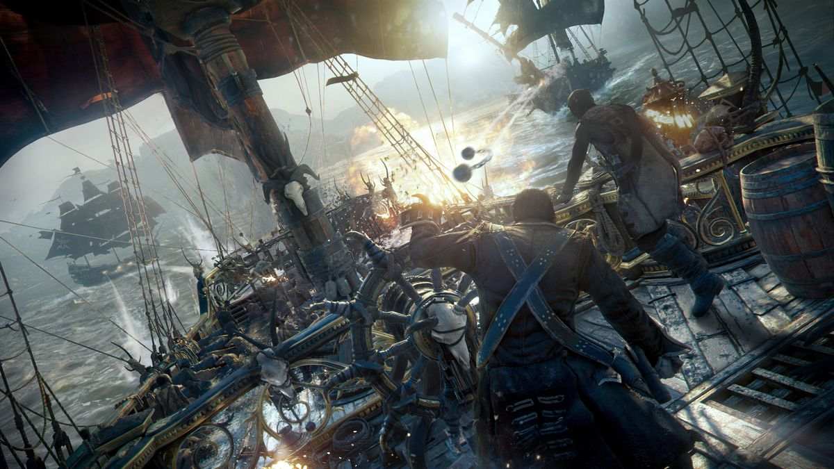 Skull & Bones - captain at the helm in a battle between three ships