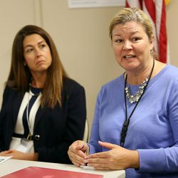 Sam Walsh, intervention counselor, speaks at a press conference about the recent deaths of two 13-year-old boys as well as about the dangers of a new synthetic drug called pink or pinky at the Park City School District office in Park City on Tuesday, Sept. 13, 2016. There is no confirmed connection between the deaths and the drug at this point.