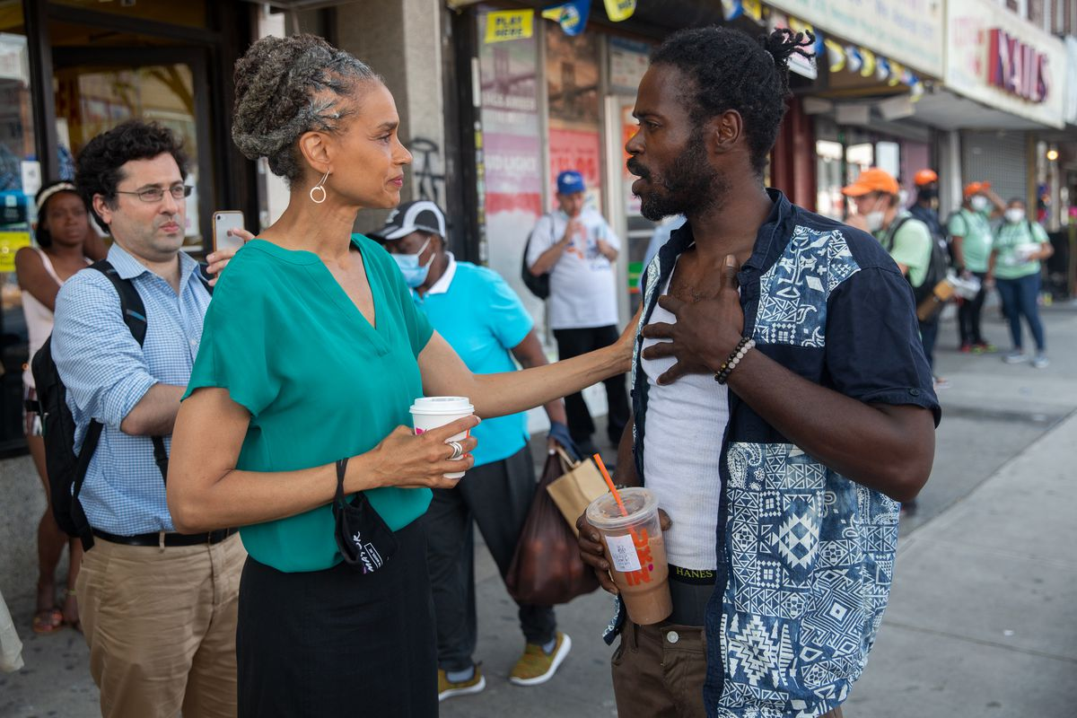 Mayoral hopeful Maya Wiley campaigned in East Flatbush the day before the Democratic primary, June 21, 2021.