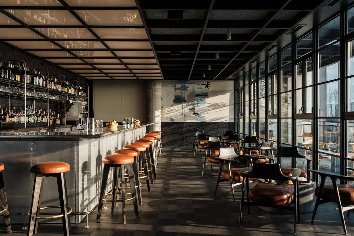 A bar space inside a hotel.