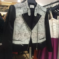 Today, the Maje and Sandro sample sale kicked off at 260 Fifth Avenue, and we previewed the merchandise last night to find the sale's best pieces, like this Sandro leather jacket ($245).