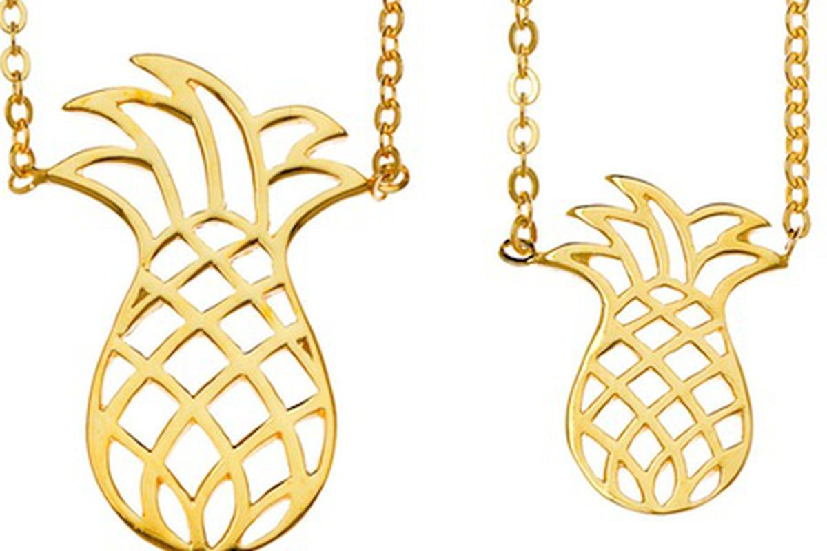 """Samantha Faye <a href=""""http://shopsamanthafaye.com/collections/frontpage/products/pineapple-pair"""">Pineapple Pairs</a> necklace"""
