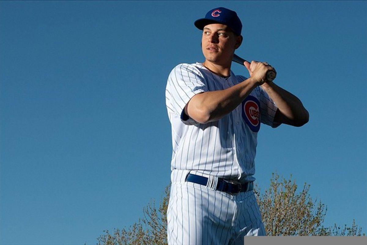 Feb 27, 2012; Mesa, AZ, USA; Chicago Cubs first baseman Bryan LaHair (6) during photo day at HoHoKam Park.  Mandatory Credit: Jake Roth-US PRESSWIRE