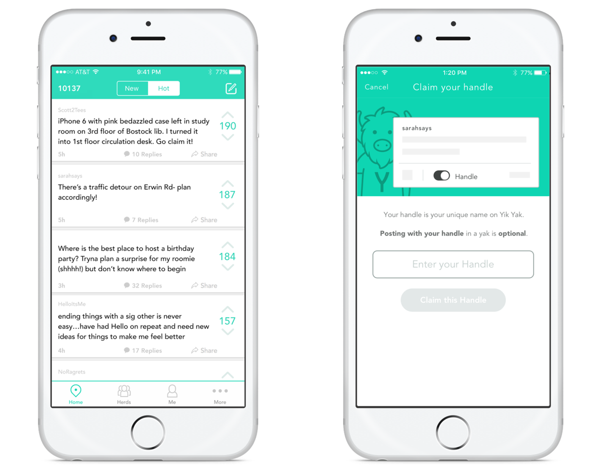 Yik Yak asks users to create user names in a step away from