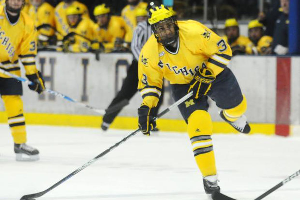 <em>Scooter Vaughan, shown here playing for the University of Michigan, is one of many players here in Penticton playing for a professional contract.</em>