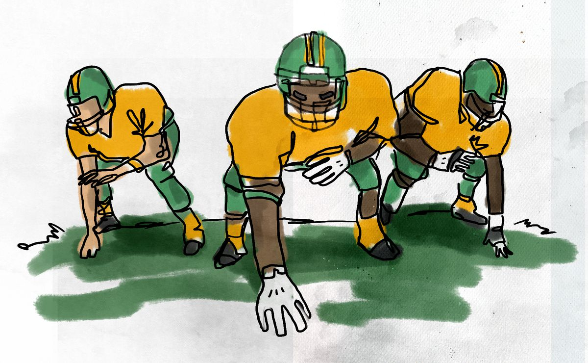 A cartoon illustration of three large football players in a defensive stance with one hand on the ground