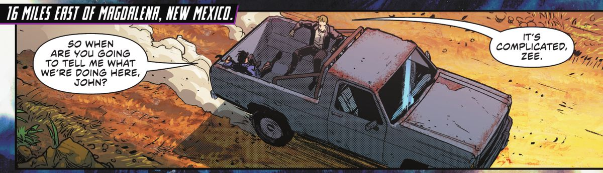 """Zatanna and John Constantine in the bed of a flatbed truck, traveling at speed. """"So when are you going to tell me what we're doing here, John?"""" she asks, in Justice League #59, DC Comics (2021)."""