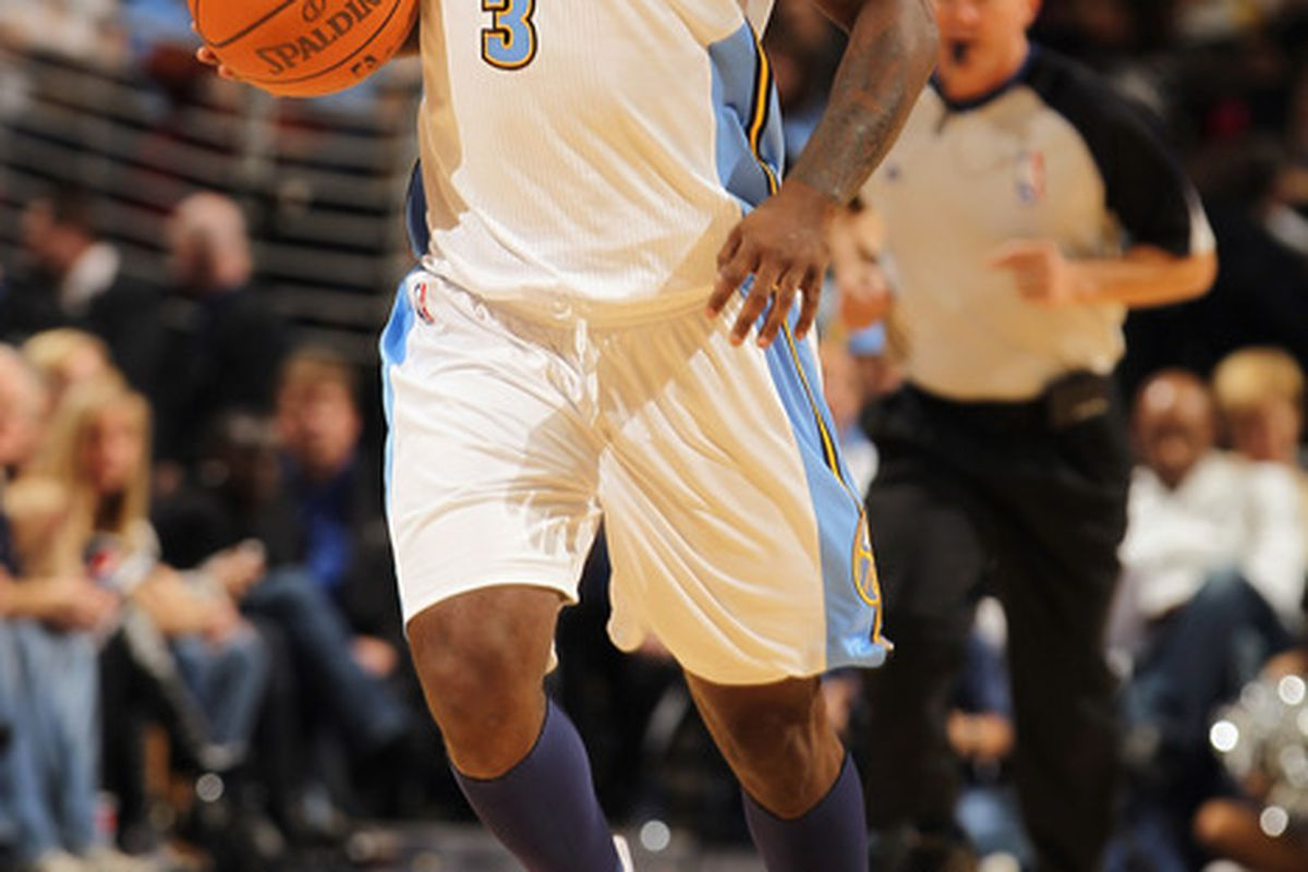 Ty Lawson #3 of the Denver Nuggets started at point guard with Chauncey Billups now a member of the New York Knicks. (Photo by Doug Pensinger/Getty Images)