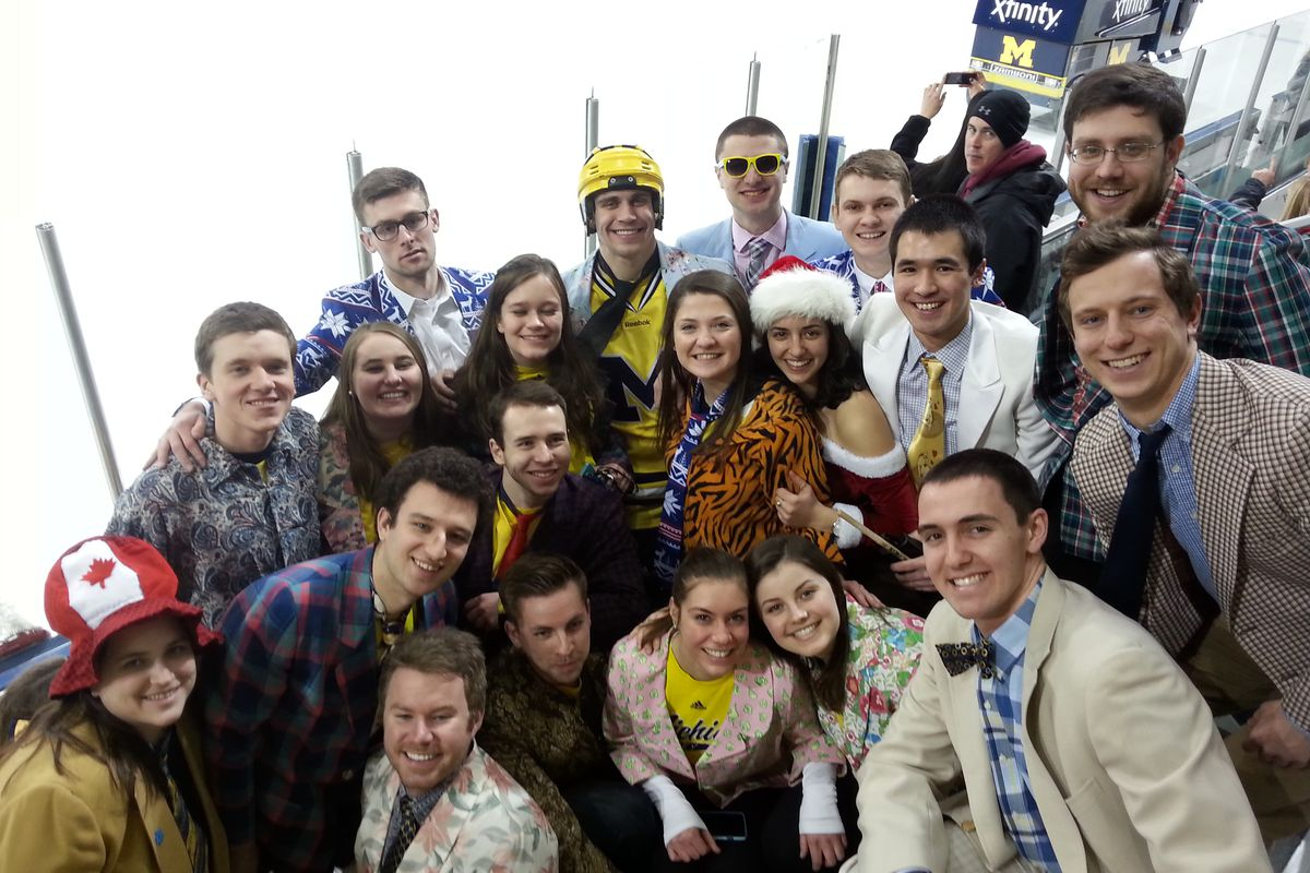 The Children of Yost, Michigan hockey's famed student section, celebrate Don Cherry night